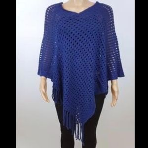 NWT Crochet Poncho with Fringe